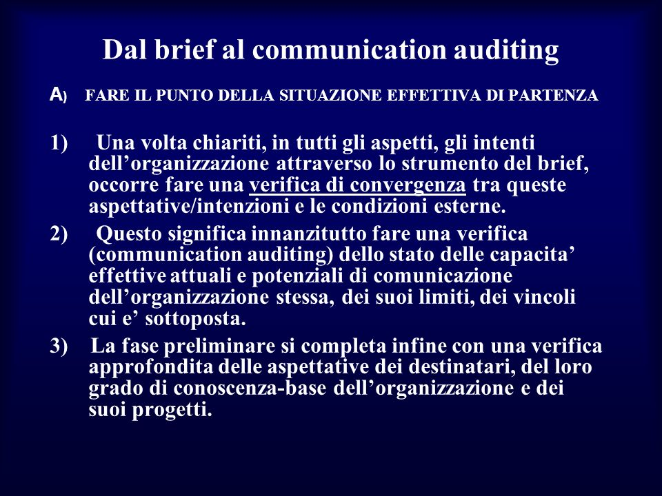 Dal brief al communication auditing