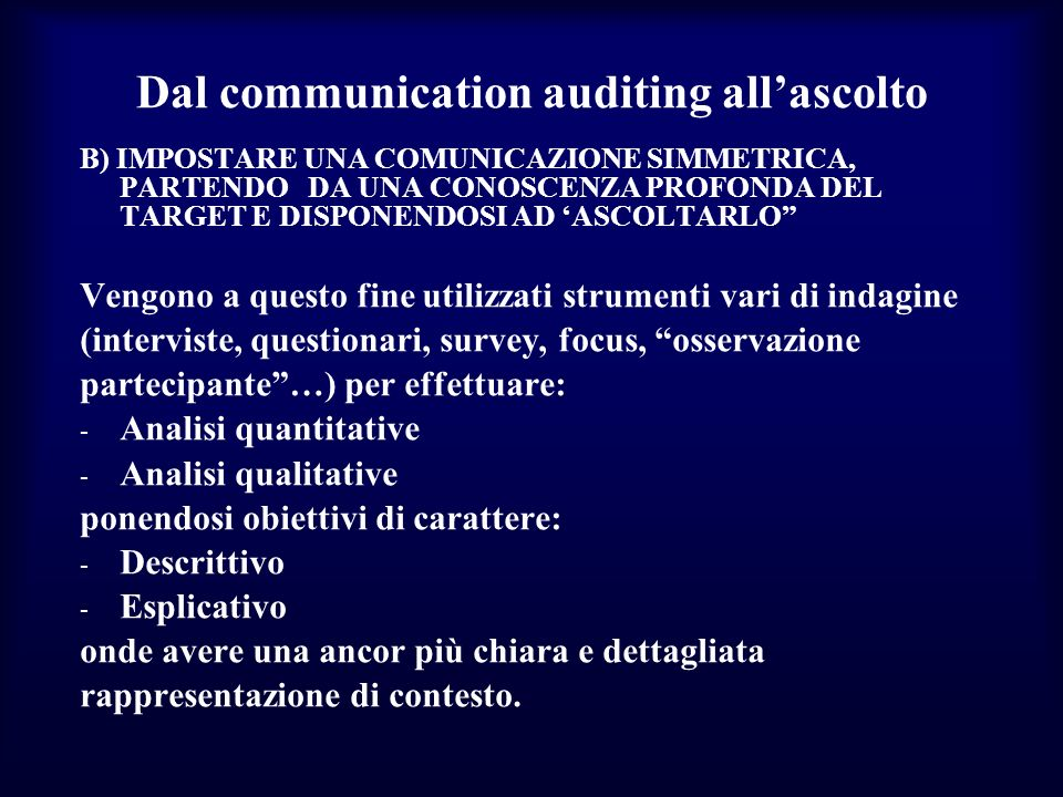 Dal communication auditing all'ascolto