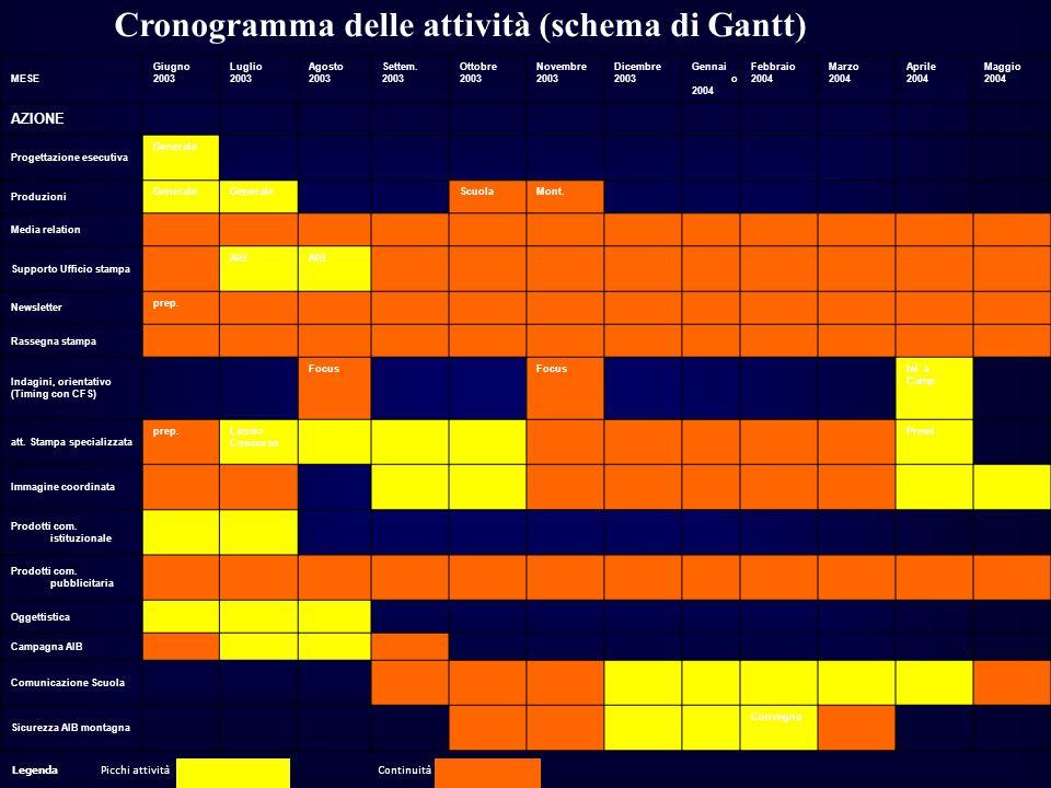 Cronogramma delle attività (schema di Gantt)