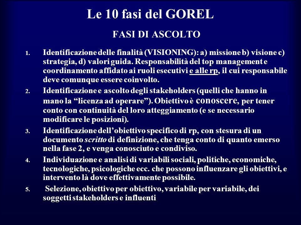 Le 10 fasi del GOREL FASI DI ASCOLTO