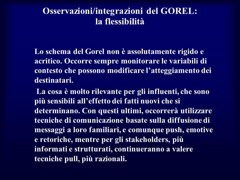 Osservazioni/integrazioni del GOREL: la flessibilità
