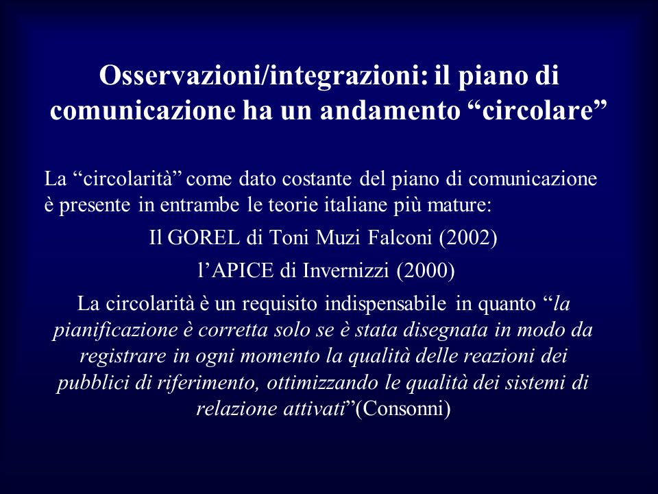 Osservazioni/integrazioni: il piano di comunicazione ha un andamento circolare