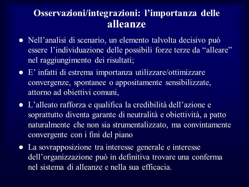 Osservazioni/integrazioni: l'importanza delle alleanze