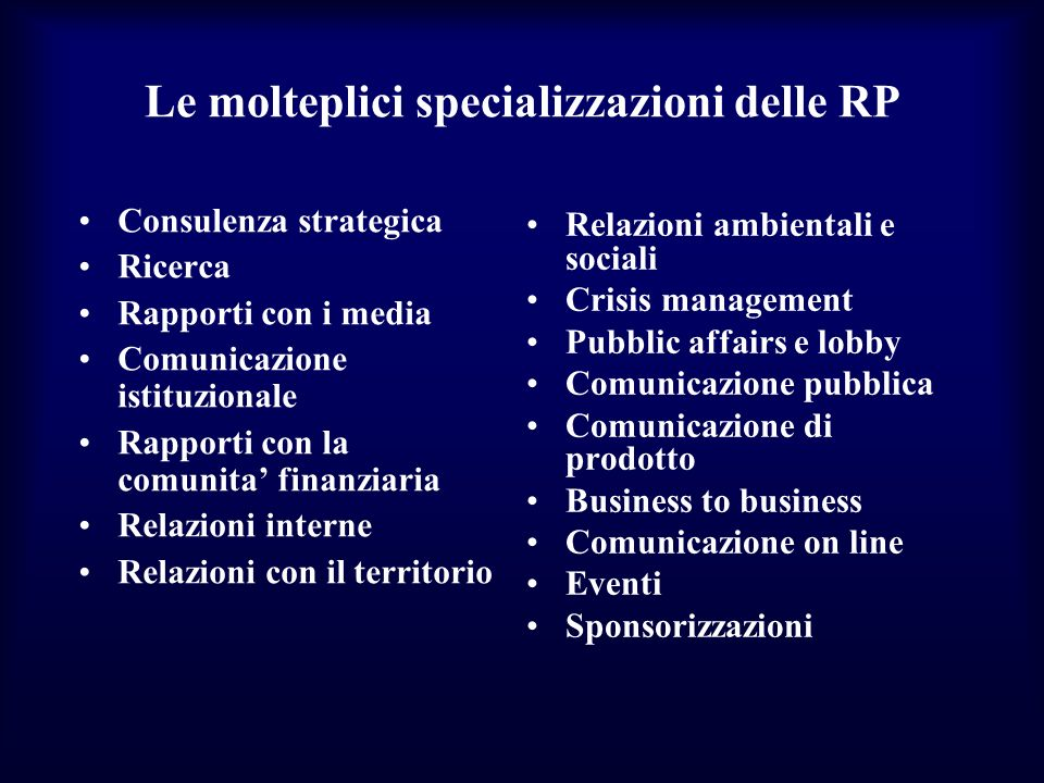 Le molteplici specializzazioni delle RP