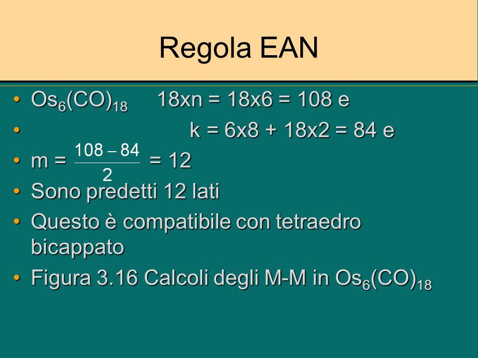 Regola EAN Os6(CO)18 18xn = 18x6 = 108 e k = 6x8 + 18x2 = 84 e