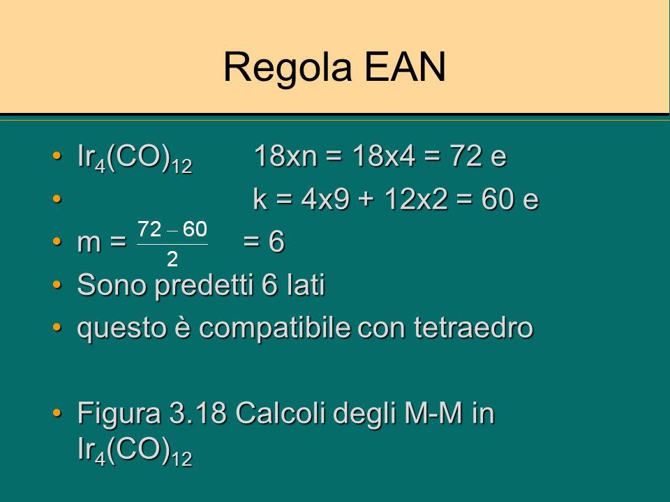 Regola EAN Ir4(CO)12 18xn = 18x4 = 72 e k = 4x9 + 12x2 = 60 e m = = 6