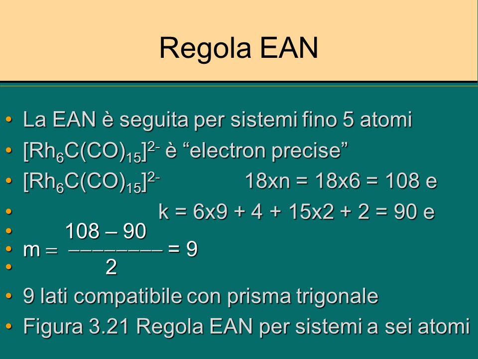 Regola EAN La EAN è seguita per sistemi fino 5 atomi