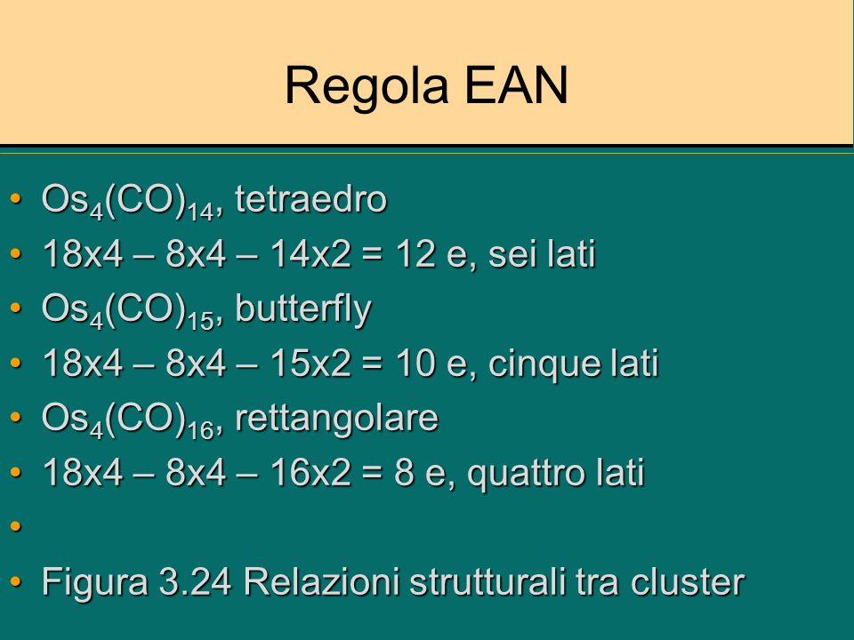 Regola EAN Os4(CO)14, tetraedro 18x4 – 8x4 – 14x2 = 12 e, sei lati