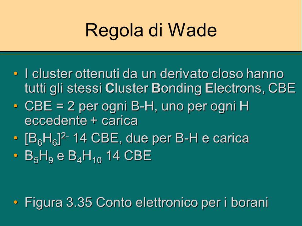 Regola di Wade I cluster ottenuti da un derivato closo hanno tutti gli stessi Cluster Bonding Electrons, CBE.