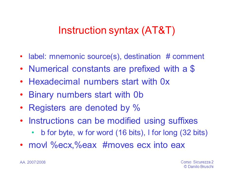 Instruction syntax (AT&T)