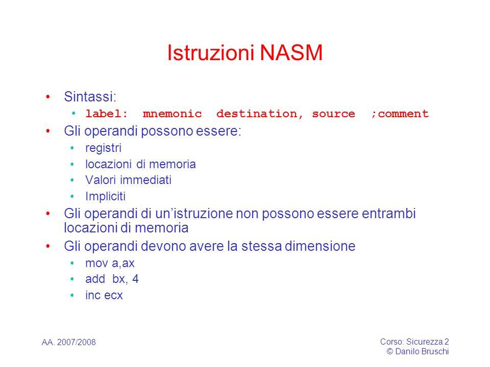 Istruzioni NASM Sintassi: Gli operandi possono essere: