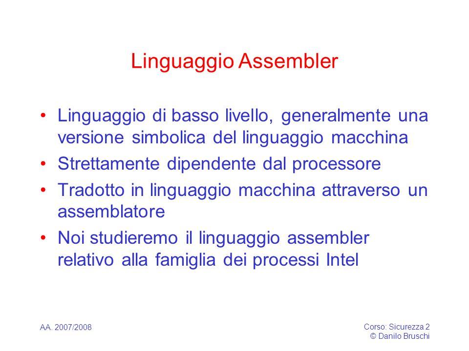 Linguaggio Assembler Linguaggio di basso livello, generalmente una versione simbolica del linguaggio macchina.