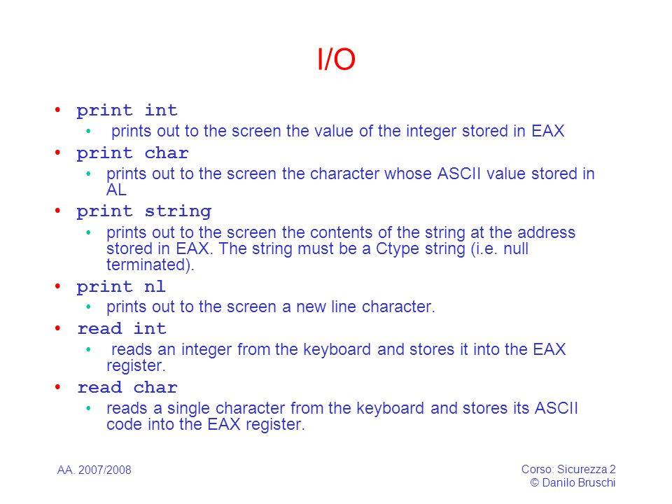 I/O print int print char print string print nl read int read char