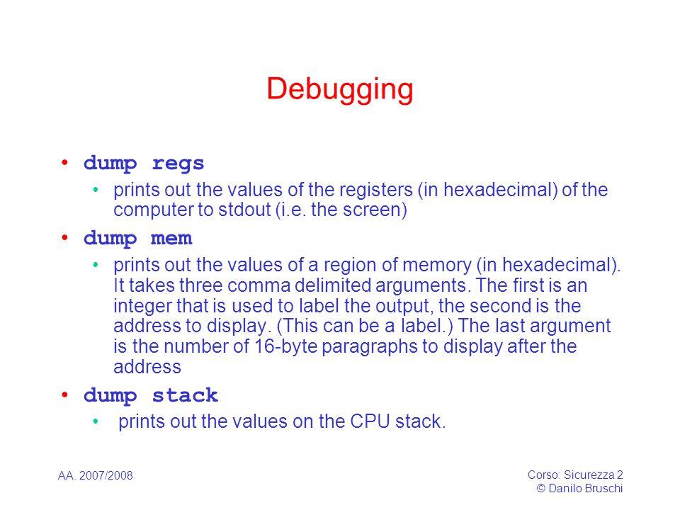 Debugging dump regs dump mem dump stack