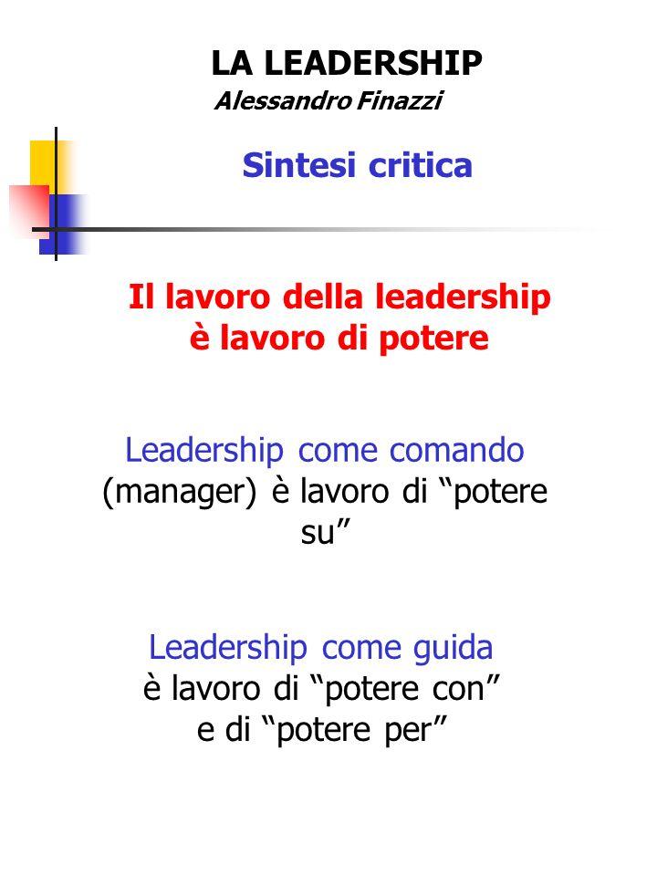 Il lavoro della leadership è lavoro di potere