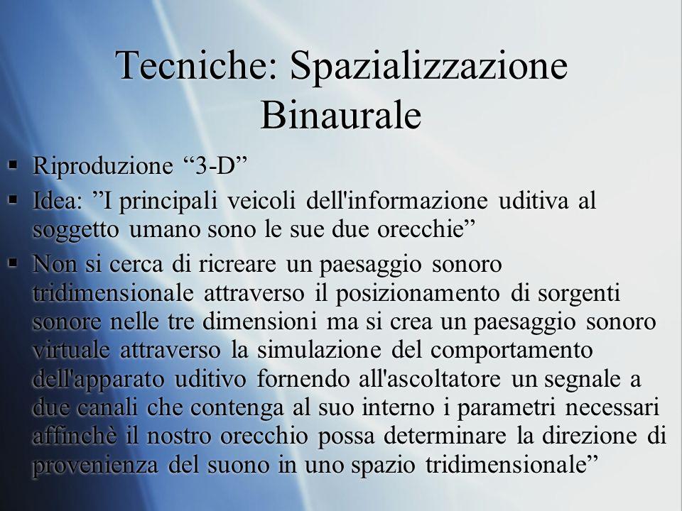 Tecniche: Spazializzazione Binaurale