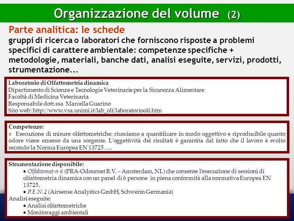 Organizzazione del volume (2)