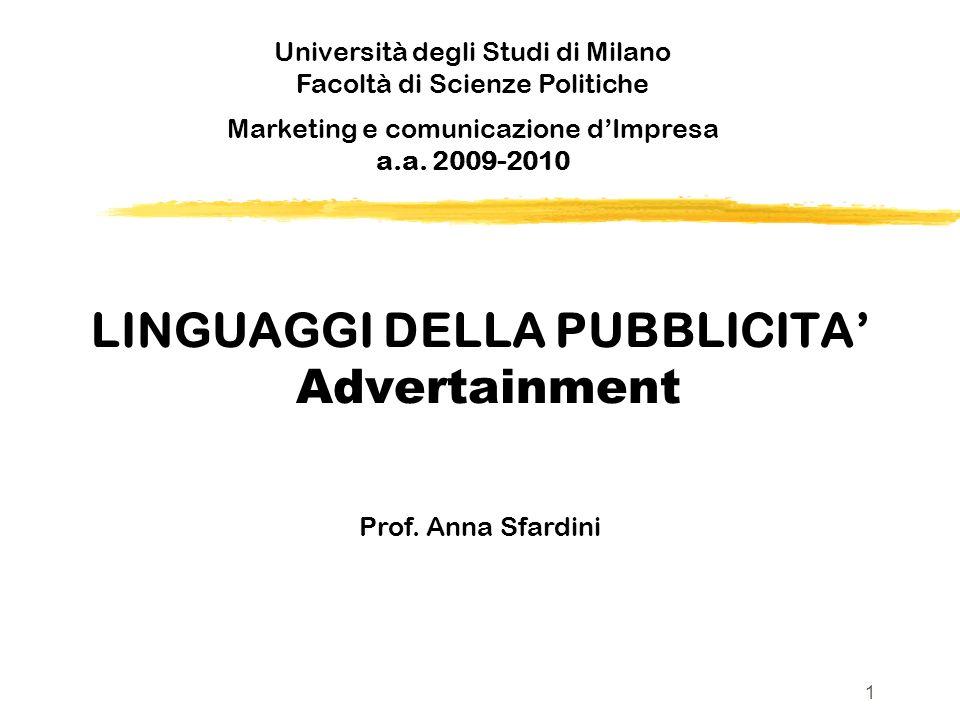 LINGUAGGI DELLA PUBBLICITA' Advertainment
