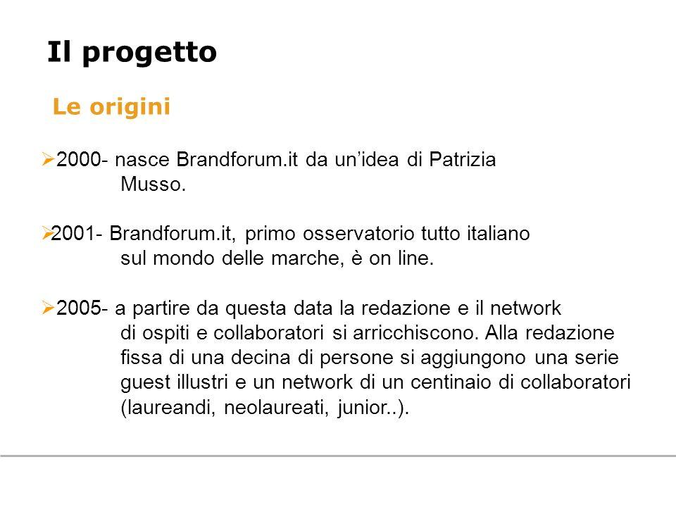 Il progetto Le origini. 2000- nasce Brandforum.it da un'idea di Patrizia. Musso. 2001- Brandforum.it, primo osservatorio tutto italiano.