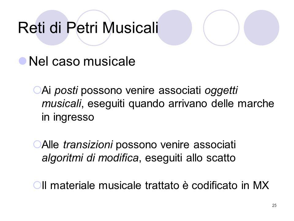 Reti di Petri Musicali Nel caso musicale