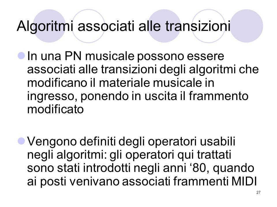 Algoritmi associati alle transizioni