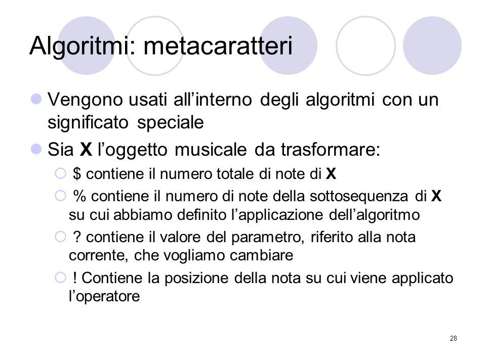 Algoritmi: metacaratteri