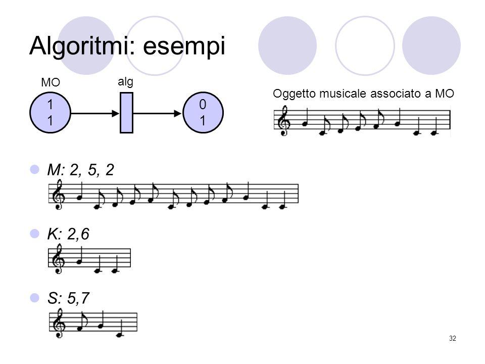 Algoritmi: esempi M: 2, 5, 2 K: 2,6 S: 5,7 1 1 MO alg