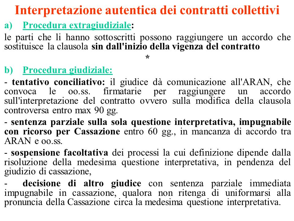Interpretazione autentica dei contratti collettivi