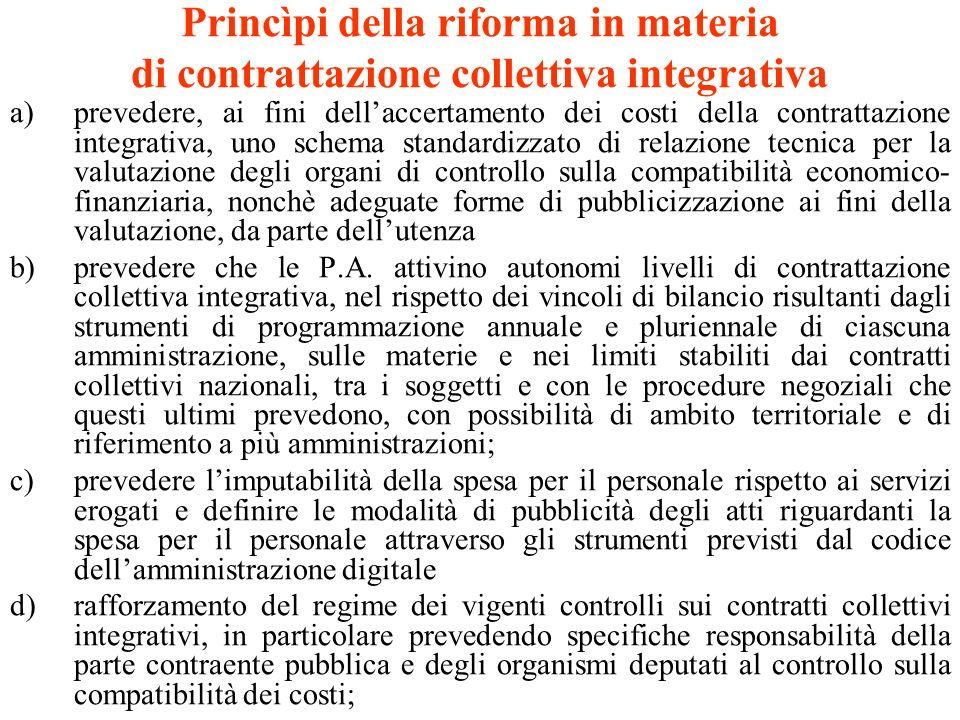 Princìpi della riforma in materia di contrattazione collettiva integrativa