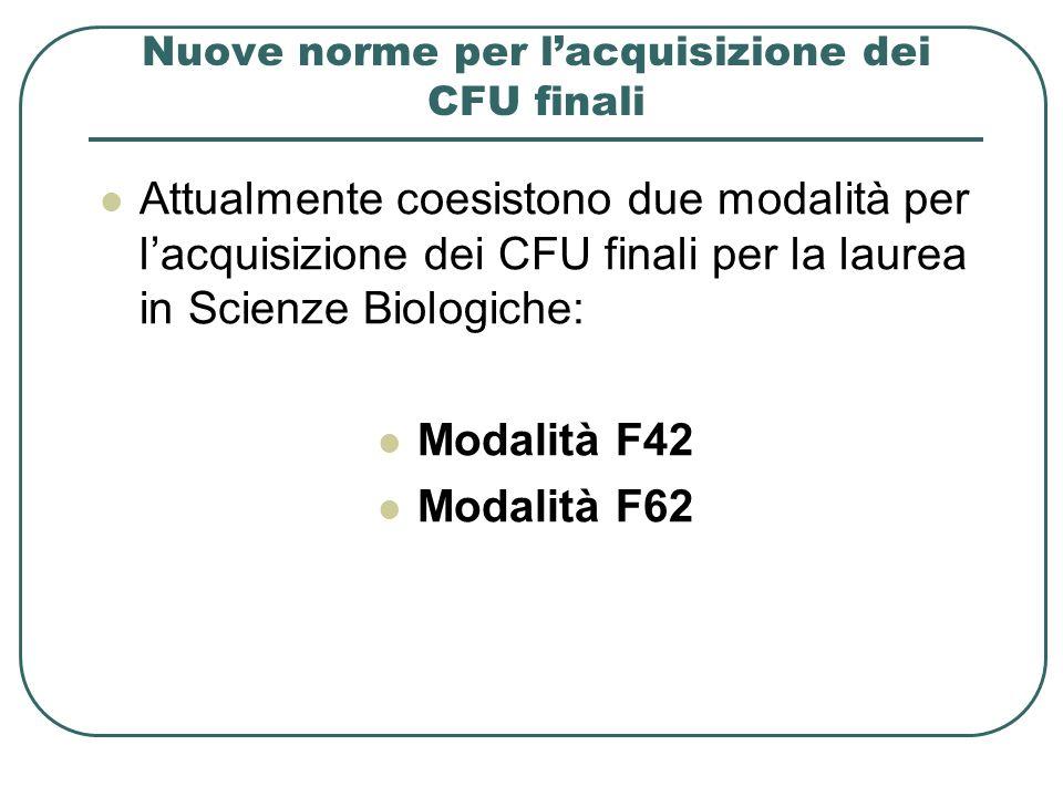 Nuove norme per l'acquisizione dei CFU finali