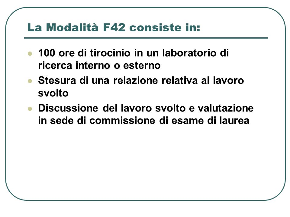 La Modalità F42 consiste in: