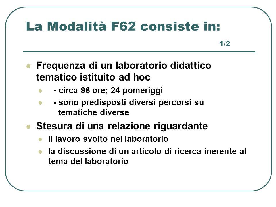 La Modalità F62 consiste in: 1/2
