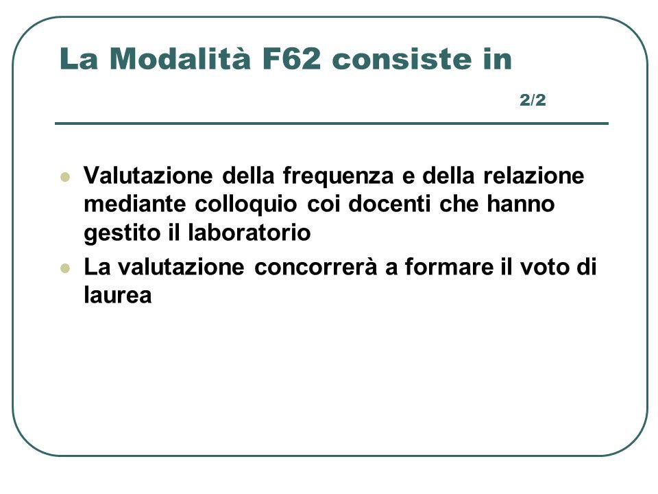 La Modalità F62 consiste in 2/2