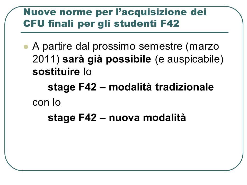 Nuove norme per l'acquisizione dei CFU finali per gli studenti F42