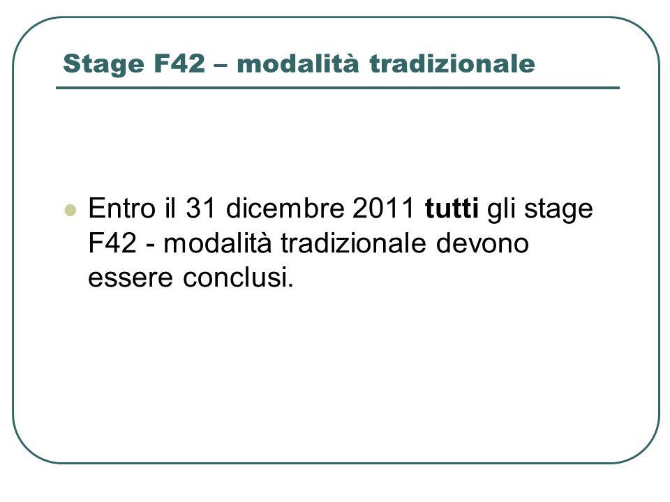 Stage F42 – modalità tradizionale