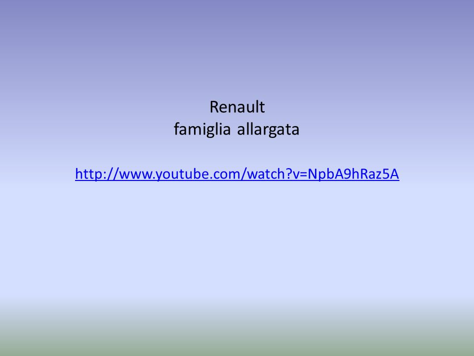 Renault famiglia allargata http://www.youtube.com/watch v=NpbA9hRaz5A