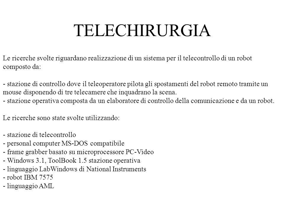 TELECHIRURGIALe ricerche svolte riguardano realizzazione di un sistema per il telecontrollo di un robot composto da: