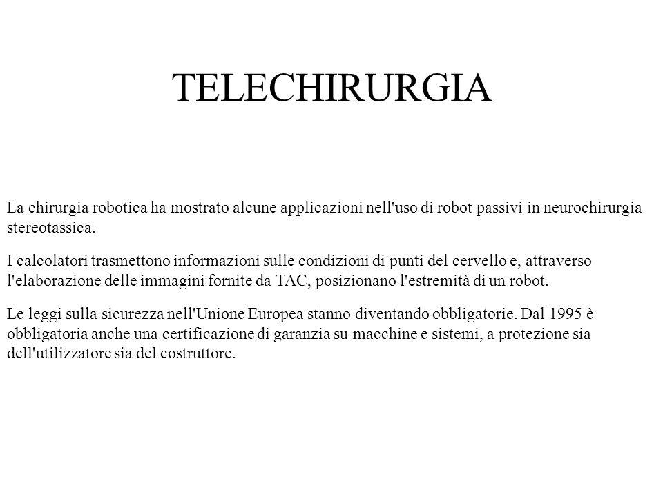 TELECHIRURGIA La chirurgia robotica ha mostrato alcune applicazioni nell uso di robot passivi in neurochirurgia stereotassica.