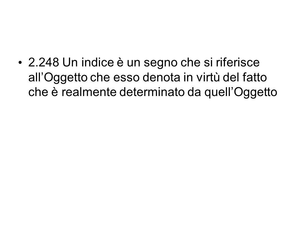 2.248 Un indice è un segno che si riferisce all'Oggetto che esso denota in virtù del fatto che è realmente determinato da quell'Oggetto