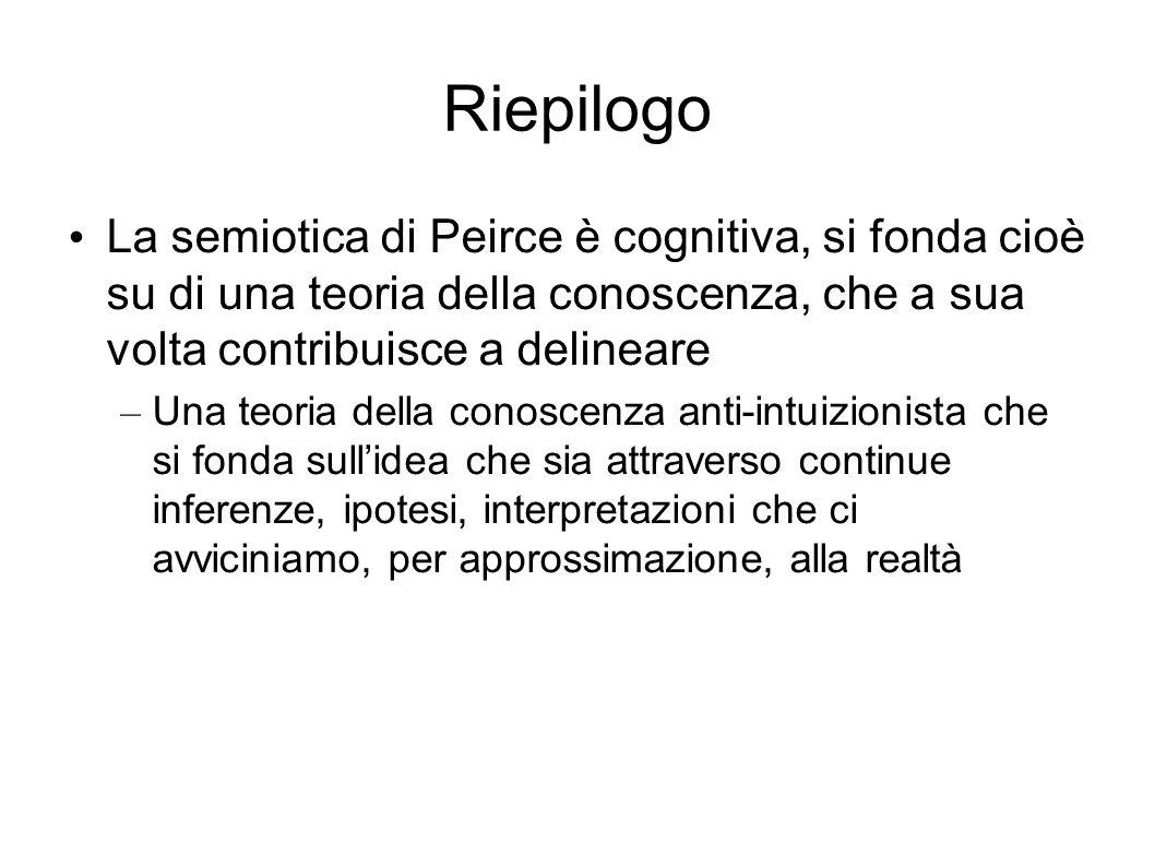 Riepilogo La semiotica di Peirce è cognitiva, si fonda cioè su di una teoria della conoscenza, che a sua volta contribuisce a delineare.