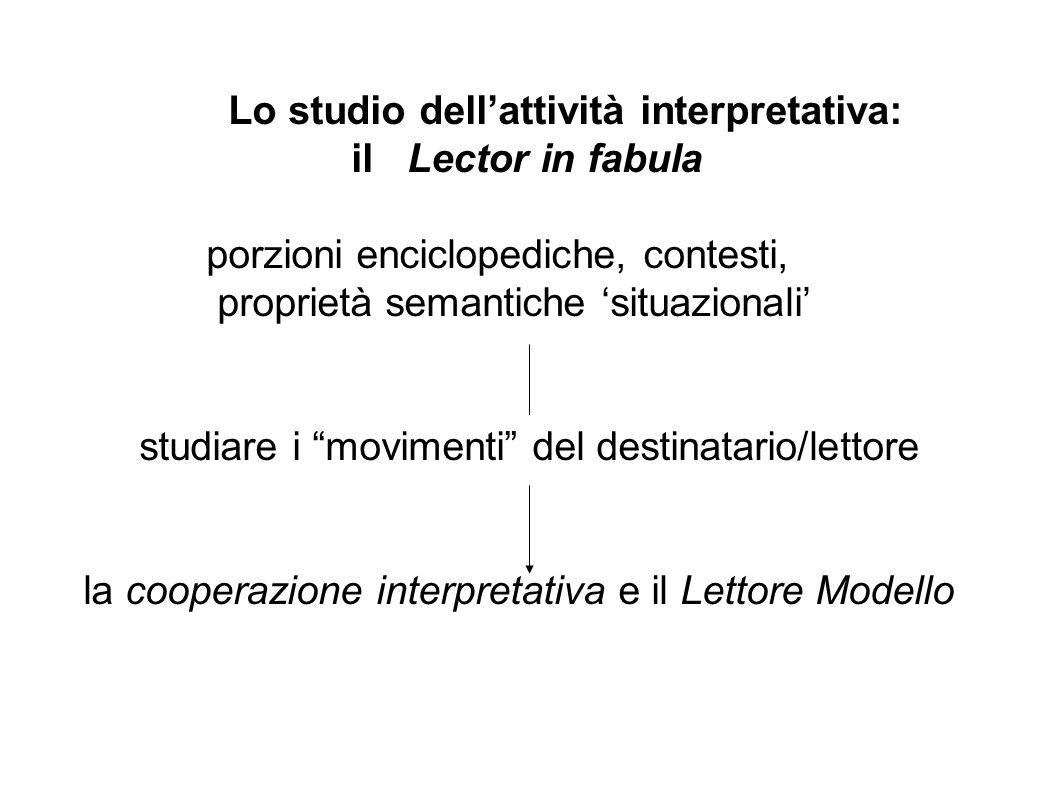 Lo studio dell'attività interpretativa: il Lector in fabula porzioni enciclopediche, contesti, proprietà semantiche 'situazionali' studiare i movimenti del destinatario/lettore la cooperazione interpretativa e il Lettore Modello