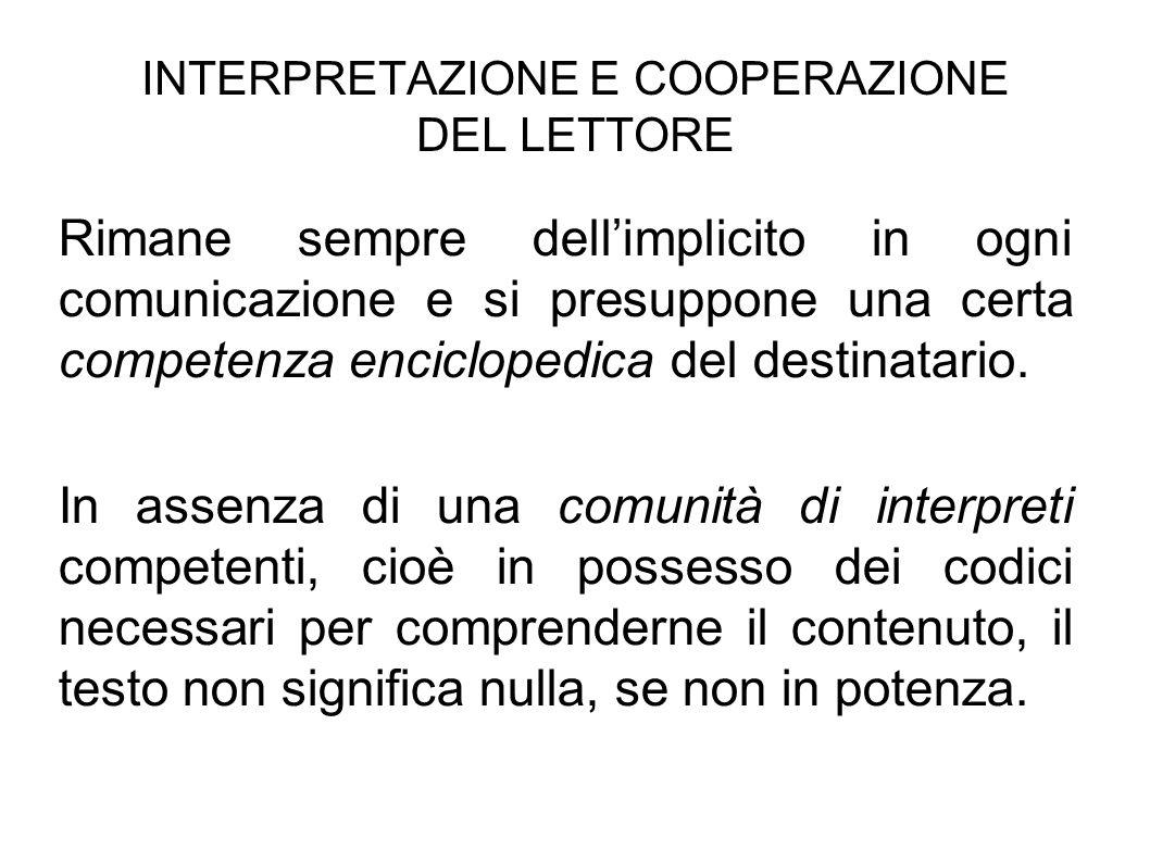 INTERPRETAZIONE E COOPERAZIONE DEL LETTORE