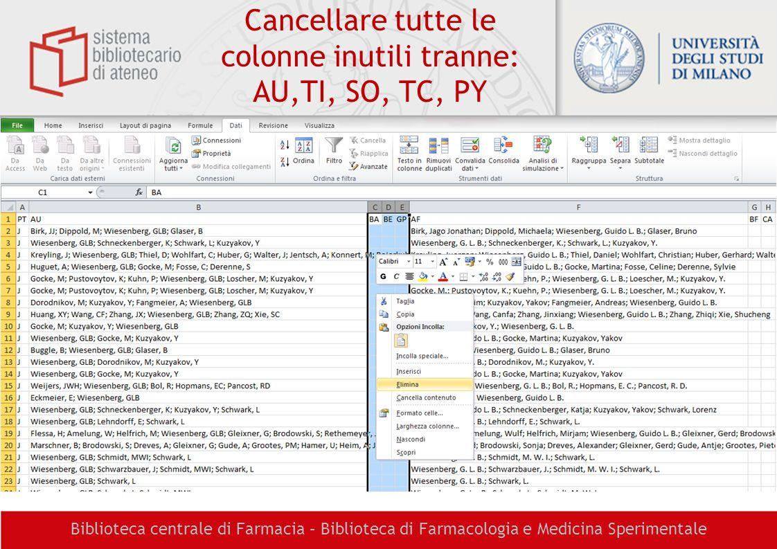 Cancellare tutte le colonne inutili tranne: AU,TI, SO, TC, PY