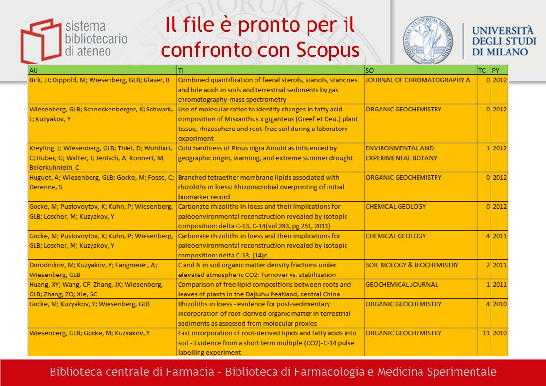 Il file è pronto per il confronto con Scopus