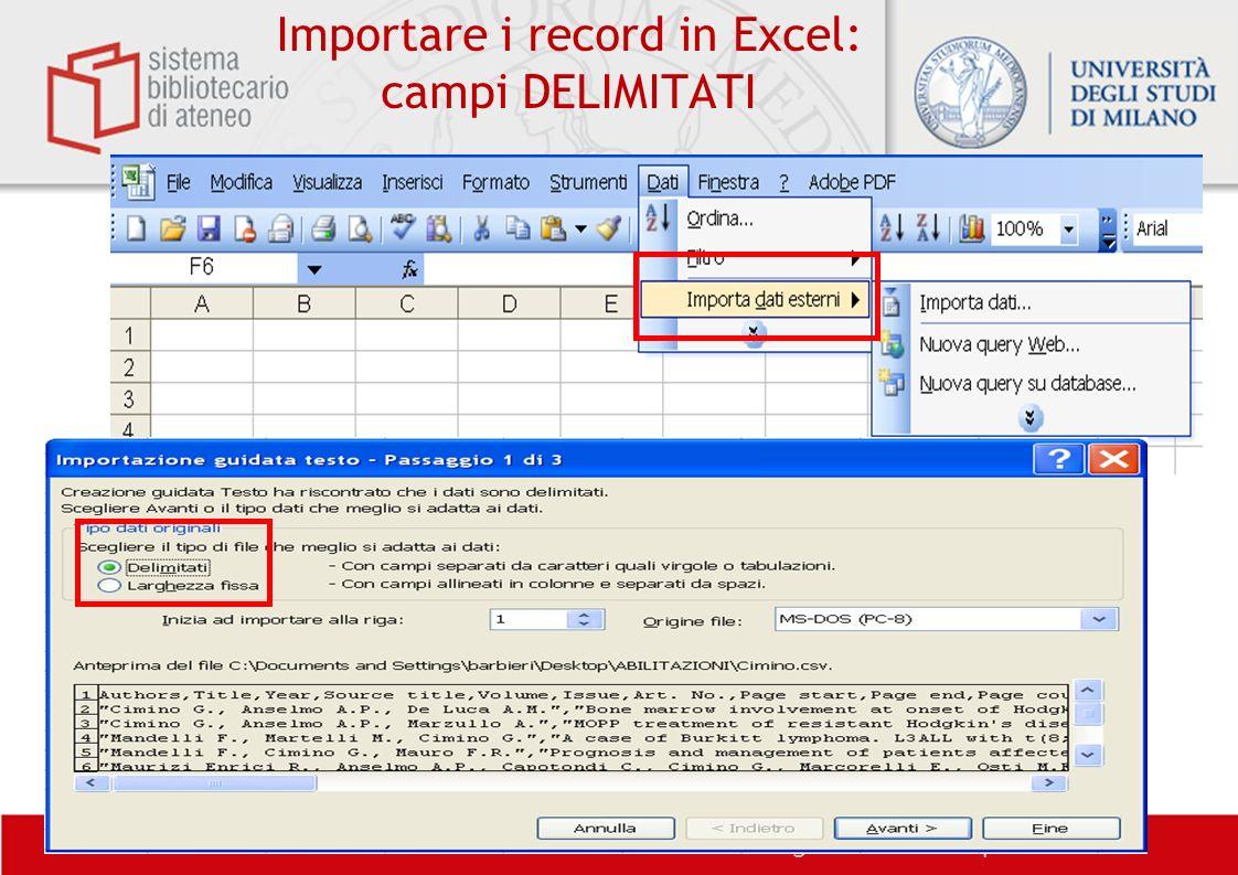 Importare i record in Excel: campi DELIMITATI