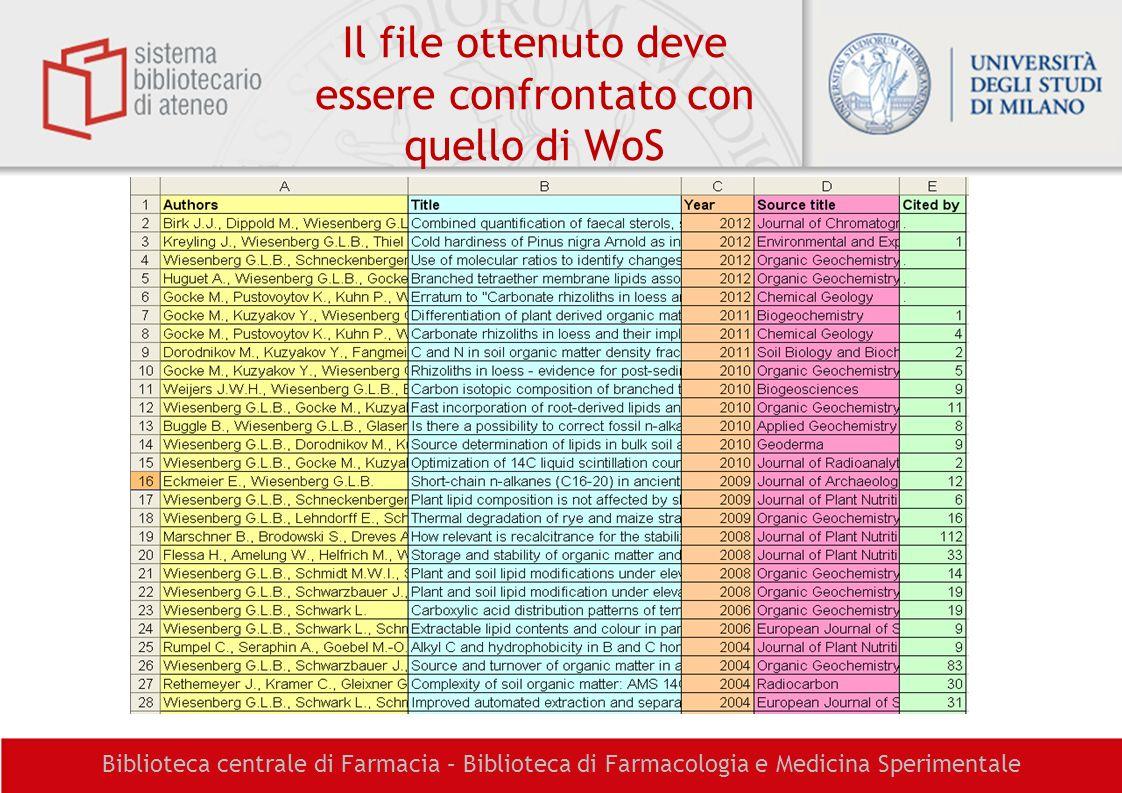 Il file ottenuto deve essere confrontato con quello di WoS