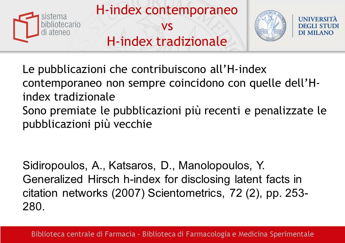 H-index contemporaneo vs H-index tradizionale
