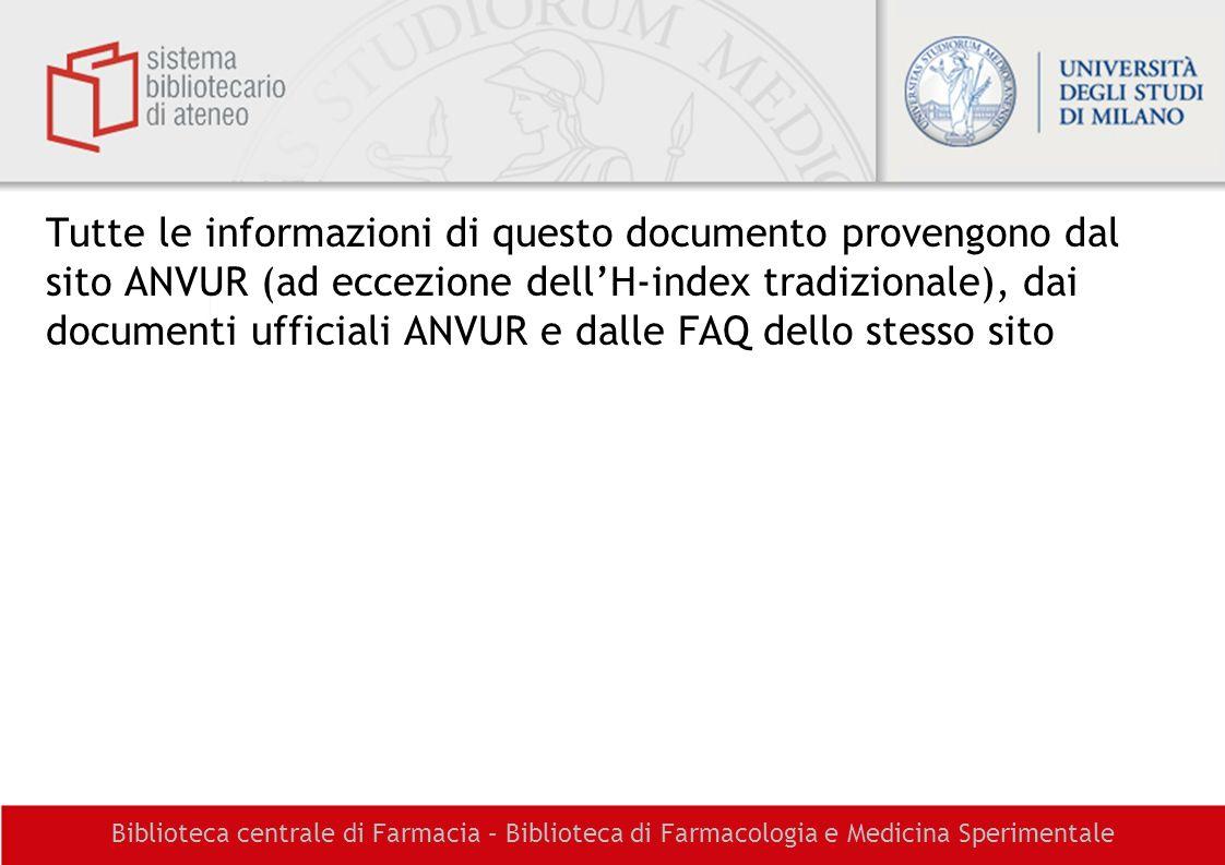 Tutte le informazioni di questo documento provengono dal sito ANVUR (ad eccezione dell'H-index tradizionale), dai documenti ufficiali ANVUR e dalle FAQ dello stesso sito
