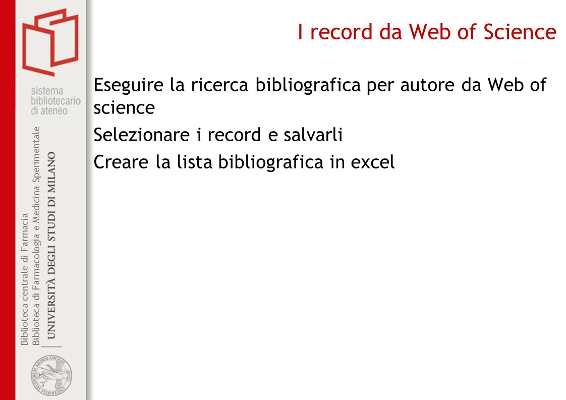 I record da Web of Science