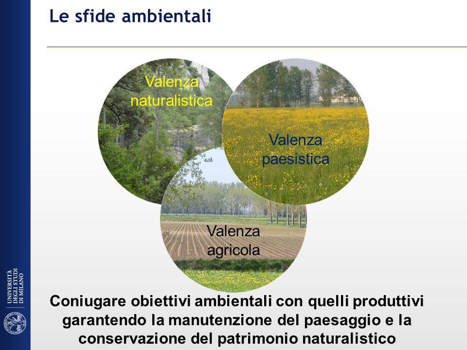 Le sfide ambientali Valenza naturalistica Valenza paesistica Valenza